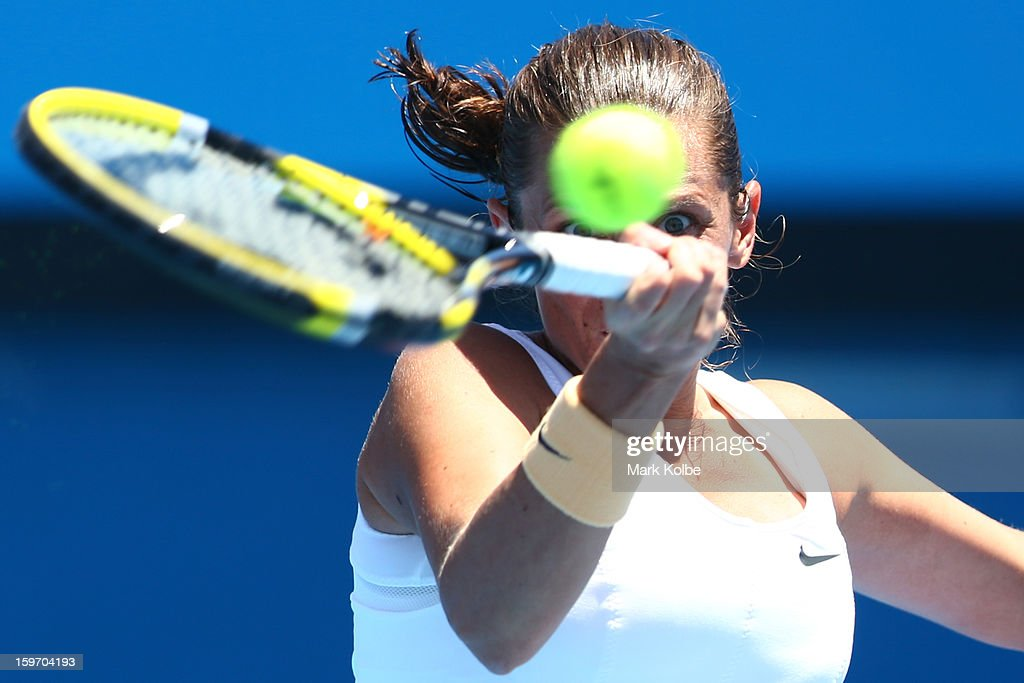 Roberta Vinci of Italy plays a forehand in her third round match against Elena Vesnina of Russia during day six of the 2013 Australian Open at Melbourne Park on January 19, 2013 in Melbourne, Australia.