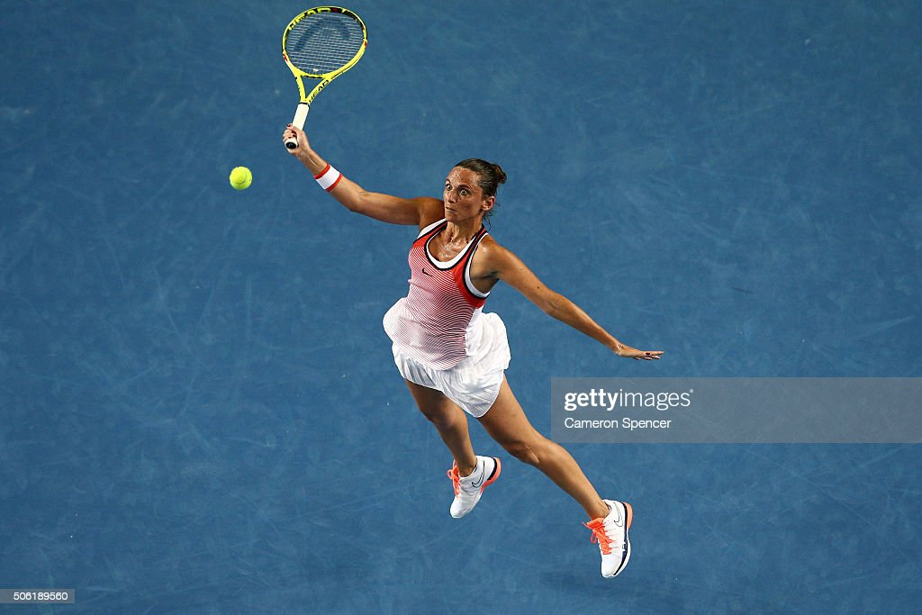 <a gi-track='captionPersonalityLinkClicked' href=/galleries/search?phrase=Roberta+Vinci&family=editorial&specificpeople=633555 ng-click='$event.stopPropagation()'>Roberta Vinci</a> of Italy plays a forehand in her third round match against Anna-Lena Friedsman of Germany during day five of the 2016 Australian Open at Melbourne Park on January 22, 2016 in Melbourne, Australia.