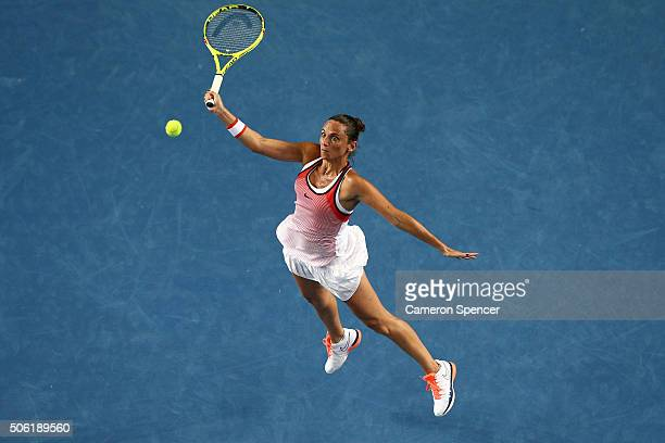 Roberta Vinci of Italy plays a forehand in her third round match against AnnaLena Friedsman of Germany during day five of the 2016 Australian Open at...