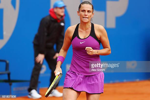 Roberta Vinci of Italy reacts during her match against Barbora Krejcikova of Czech Republic during day four of the Nuernberger Versicherungscup 2016...