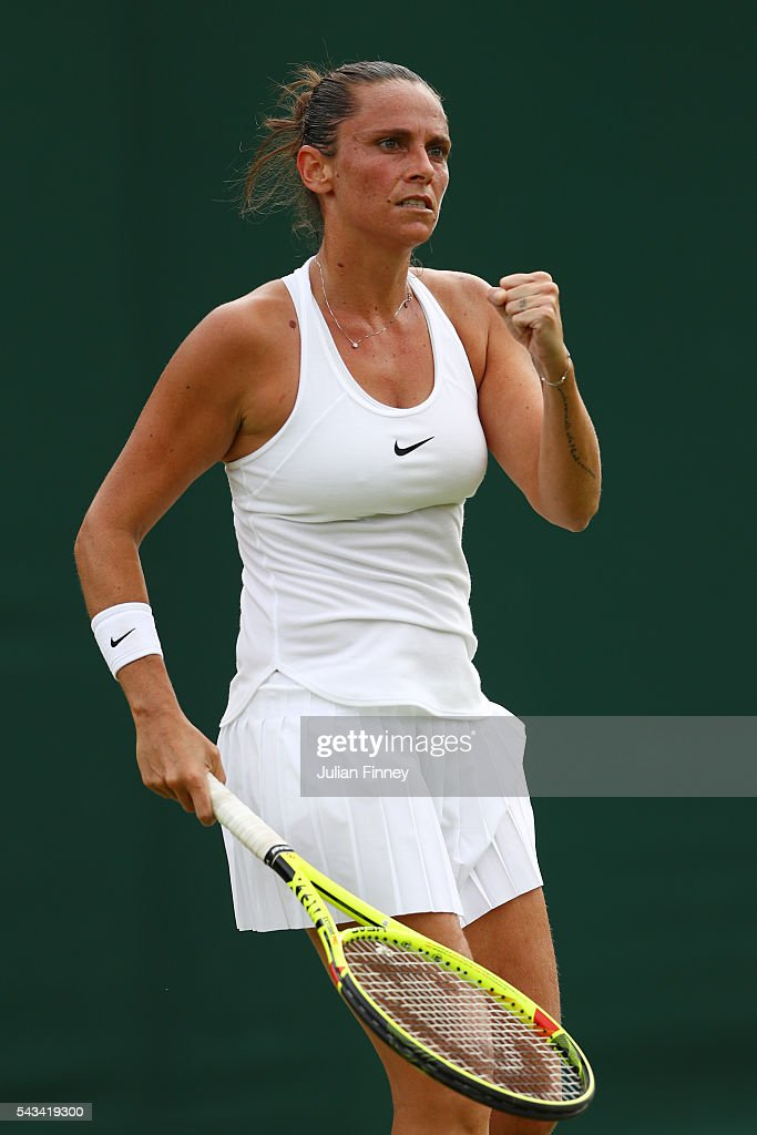 Roberta Vinci of Italy reacts during the Ladies Singles first round match against Alison Riske of The United States on day two of the Wimbledon Lawn Tennis Championships at the All England Lawn Tennis and Croquet Club on June 28, 2016 in London, England.
