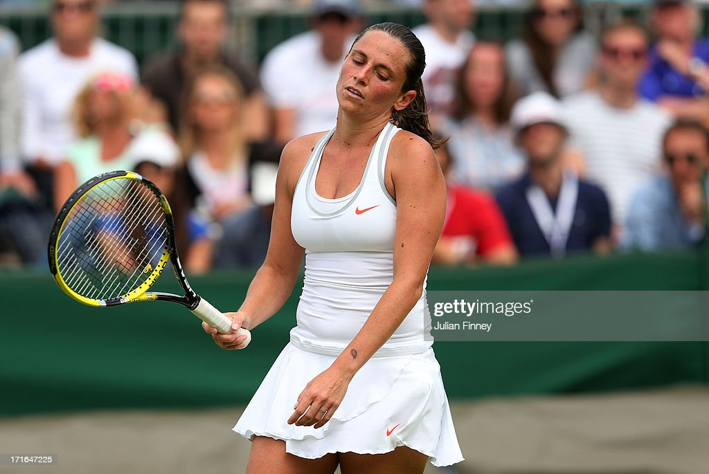 Roberta Vinci of Italy reacts during the Ladies' Singles second round match against Jana Cepelova of Slovakia on day four of the Wimbledon Lawn Tennis Championships at the All England Lawn Tennis and Croquet Club on June 27, 2013 in London, England.