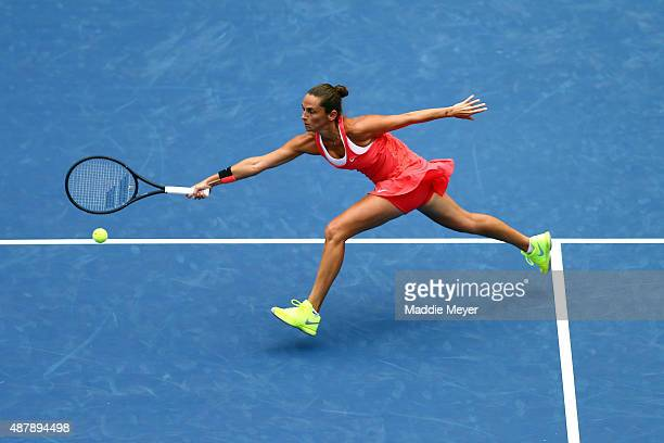 Roberta Vinci of Italy returns a forehand shot to Flavia Pennetta of Italy during their Women's Singles Final match on Day Thirteen of the 2015 US...