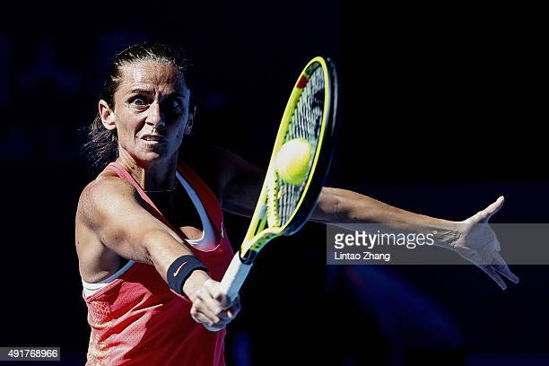 Roberta Vinci of Italy returns a shot against Bethanie MattekSands of the United States during the Women's singles Second round match on day six of...