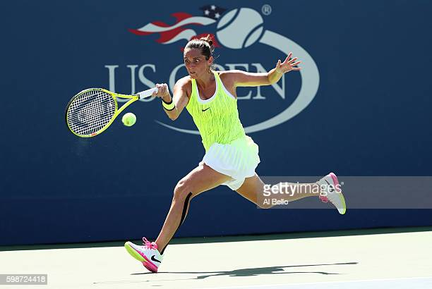 Roberta Vinci of Italy returns a shot to Carina Witthoeft of Germany during her third round Women's Singles match on Day Five of the 2016 US Open at...