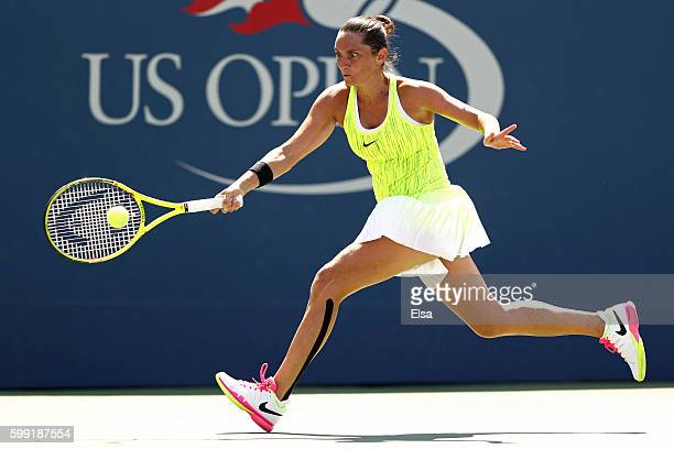 Roberta Vinci of Italy returns a shot to Lesia Tsurenko of the Ukraine during her fourth round Women's Singles match on Day Seven of the 2016 US Open...