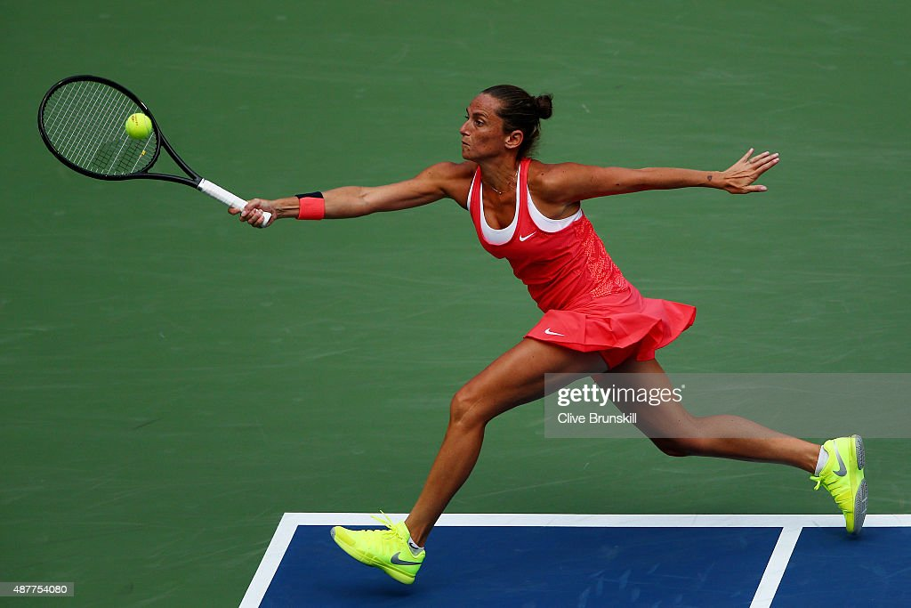 <a gi-track='captionPersonalityLinkClicked' href=/galleries/search?phrase=Roberta+Vinci&family=editorial&specificpeople=633555 ng-click='$event.stopPropagation()'>Roberta Vinci</a> of Italy returns a shot to Serena Williams of the United States during their Women's Singles Semifinals match on Day Twelve of the 2015 US Open at the USTA Billie Jean King National Tennis Center on September 11, 2015 in the Flushing neighborhood of the Queens borough of New York City.