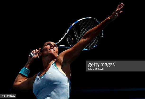 Roberta Vinci of Italy serves in her quarter final match against Heather Watson of Great Britain during day five of the Hobart International at...