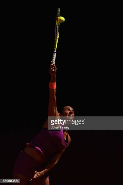 Roberta Vinci of Italy serves to Daria Kasatkina of Russia during day one of the Mutua Madrid Open tennis at La Caja Magica on May 6 2017 in Madrid...