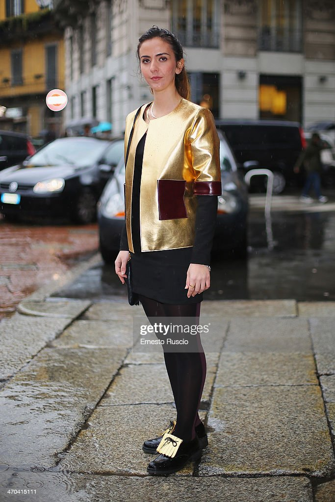 Roberta wears AB positive total look on day 1 of Milan Fashion Week Womenswear Autumn/Winter 2014 on February 19, 2014 in Milan, Italy.
