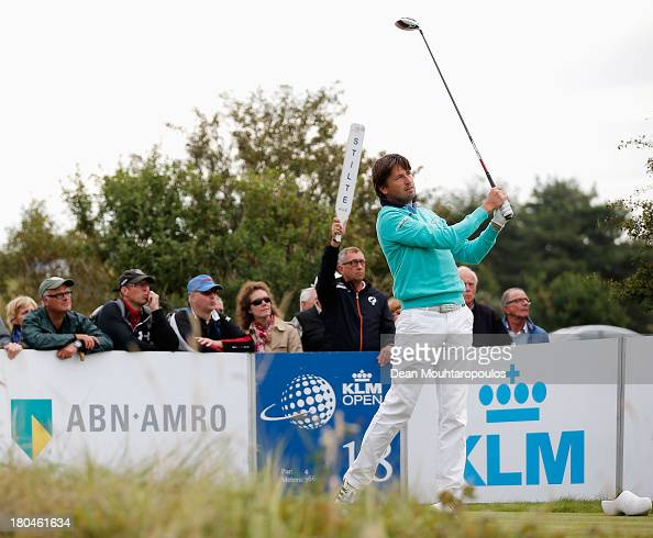 RobertJan Derksen of Netherlands hits his tee shot on the 18th hole during Day 2 of the KLM Open at Kennemer G CC on September 13 2013 in Zandvoort...