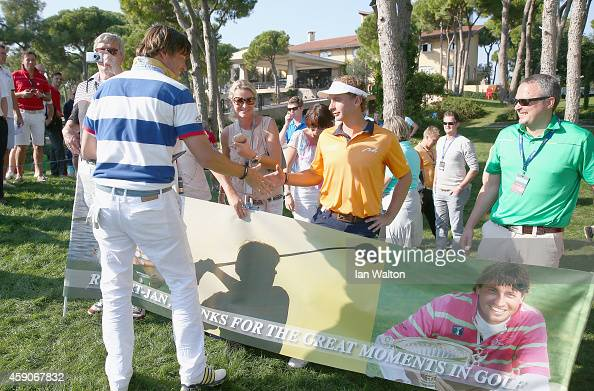 RobertJan Derksen of The Netherlands celebrates after participating in the last european tour golf competition during the final round of the 2014...