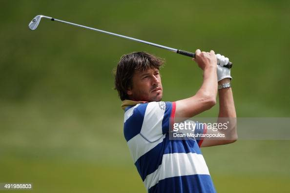 RobertJan Derksen of The Netherlands hits his second shot on the 1st hole during the final round of the Open de Espana held at PGA Catalunya Resort...