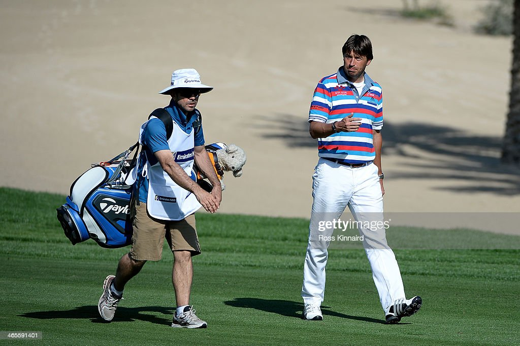 RobertJan Derksen of the Netherlands in action during the Champions Challenge prior to the Omega Dubai Desert Classic on the Majlis Course on January...