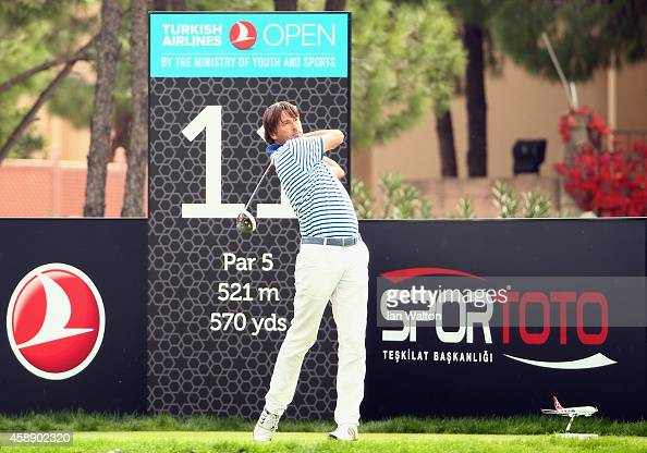 RobertJan Derksen of The Netherlands in action during the first round of the 2014 Turkish Airlines Open at The Montgomerie Maxx Royal on November 13...