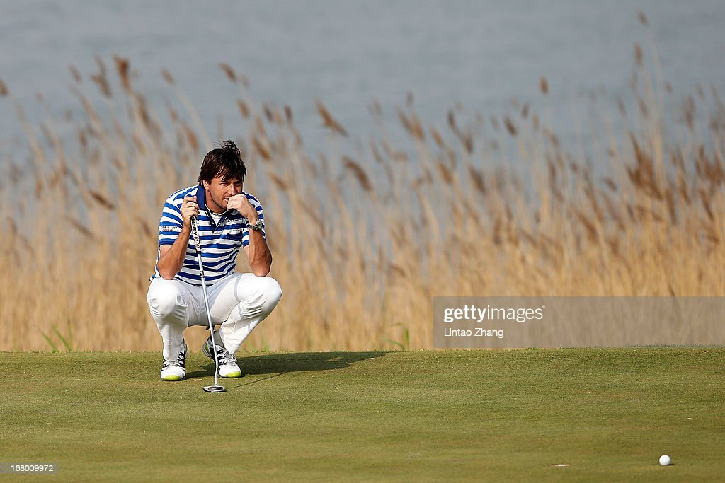 Robert-Jan Derksen of the Netherlands lines up a putt during the third day of the Volvo China Open at Binhai Lake Golf Course on May 4, 2013 in Tianjin, China.