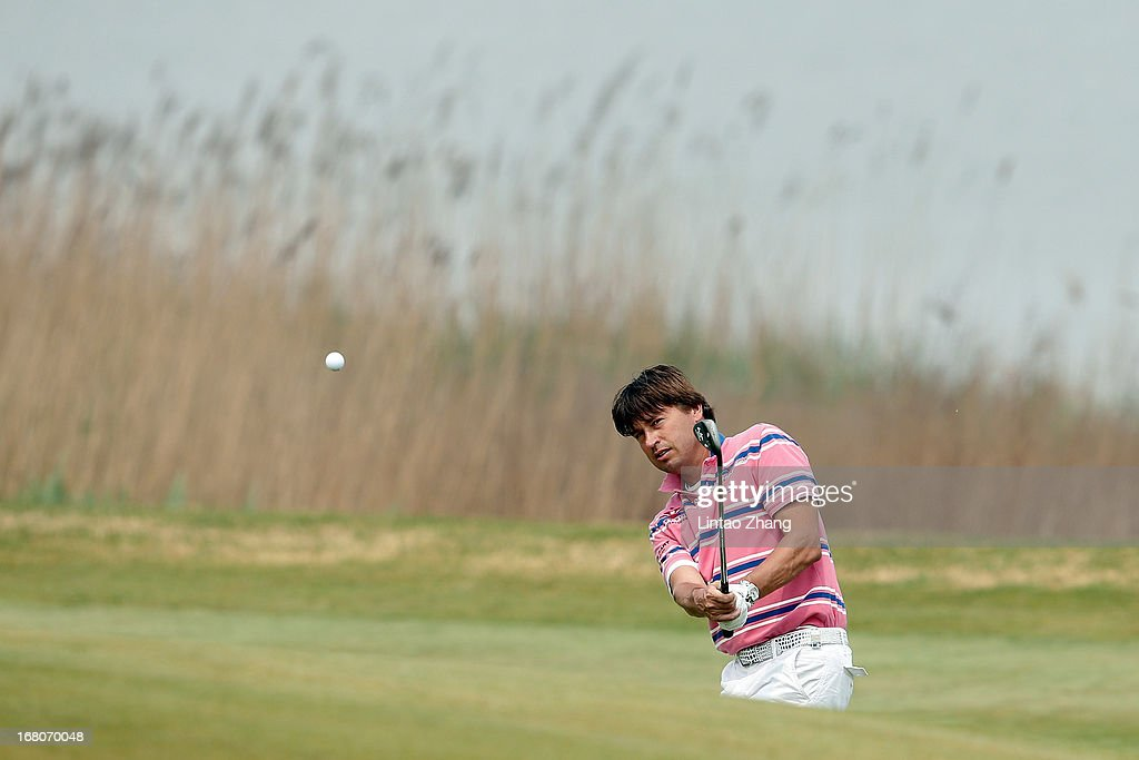 RobertJan Derksen of the Netherlands plays a shot during the during the final round of the Volvo China Open at Binhai Lake Golf Course on May 5 2013...