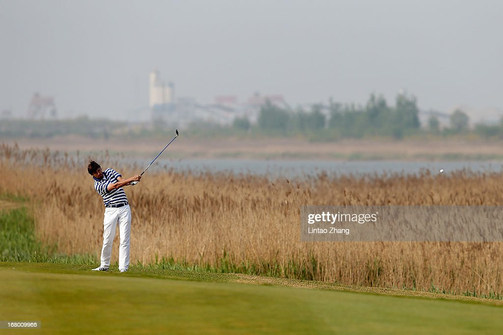 Robert-Jan Derksen of the Netherlands plays a shot during the third day of the Volvo China Open at Binhai Lake Golf Course on May 4, 2013 in Tianjin, China.