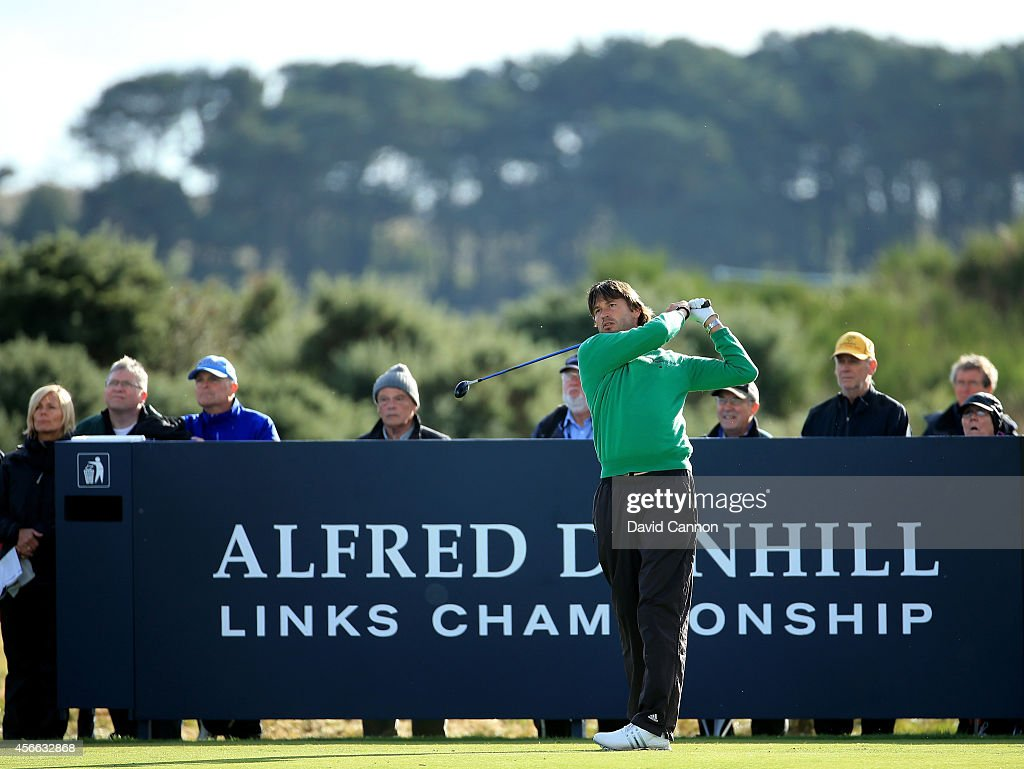 RobertJan Derksen of The Netherlands plays his tee shot on the par 3 16th hole during the third round of the 2014 Alfred Dunhill Links Championship...