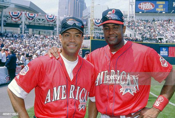 Roberto Alomar of the Baltimore Orioles and American League Allstars poses for this portrait with his brother and Allstar teammate Sandy Alomar Jr...