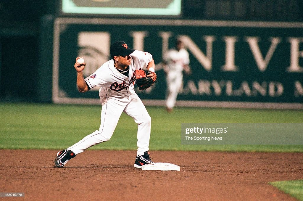 Roberto Alomar of the Baltimore Orioles during Game One of the American League Championship Series against the Cleveland Indians on October 8, 1997 at Oriole Park at Camden Yards in Baltimore, Maryland.