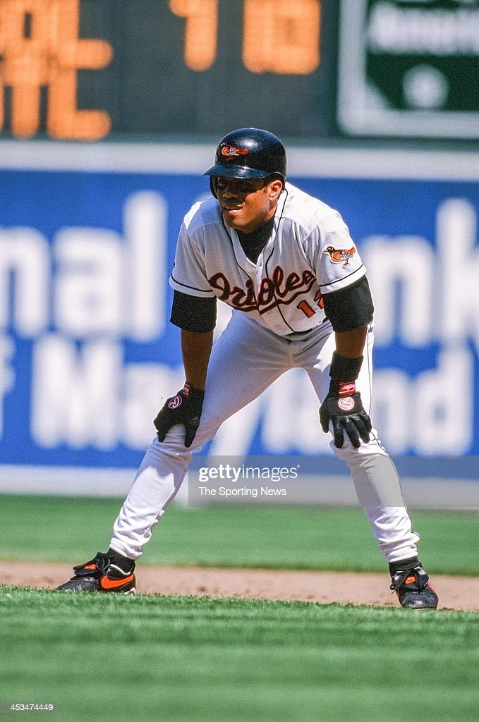 Roberto Alomar of the Baltimore Orioles during the game against the Oakland Athletics on April 25, 1998 at Oriole Park at Camden Yards in Baltimore, Maryland.
