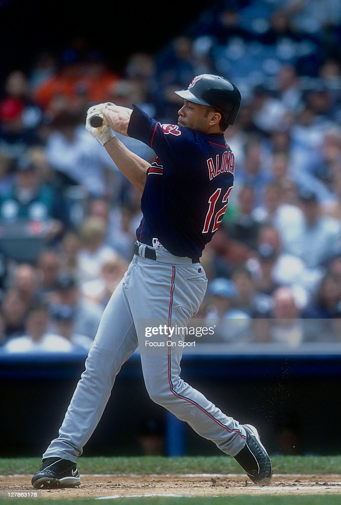 Roberto Alomar #12 of the Cleveland Indians bats against the New York Yankees during an Major League Baseball game circa 1999 at Yankee Stadium in the Bronx borough of New York City. Alomar played for the Indians from 1999-2001.