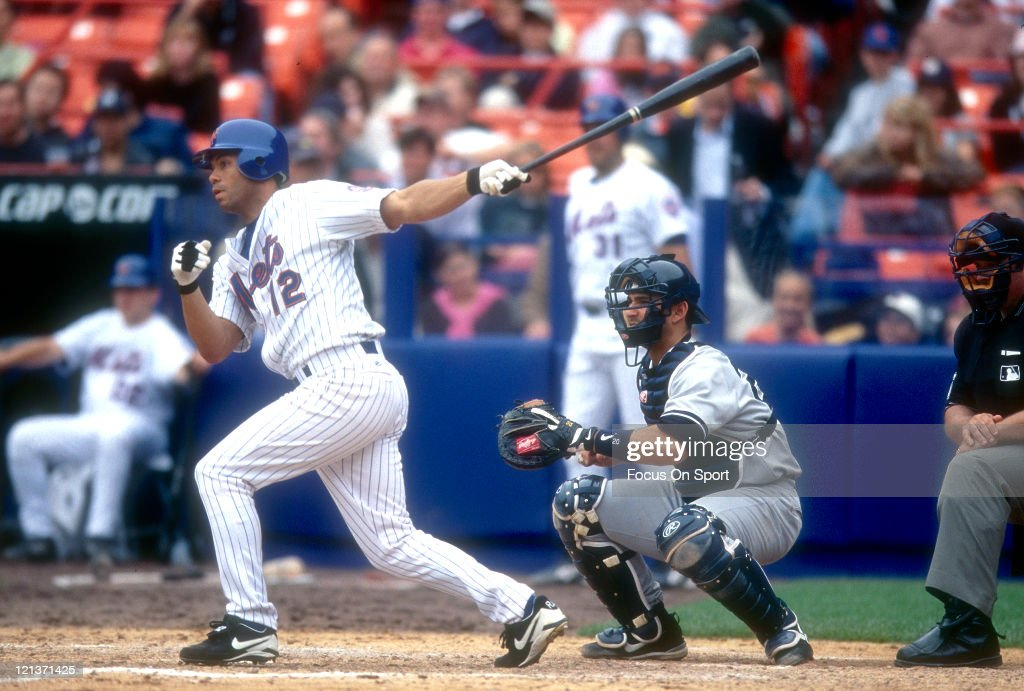 Roberto Alomar #12 of the New York Mets bats against the New York Yankees during an Major League Baseball game circa 2002 at Shea Stadium in the Queens borough of New York City. Alomar played for the Mets from 2002-2003.