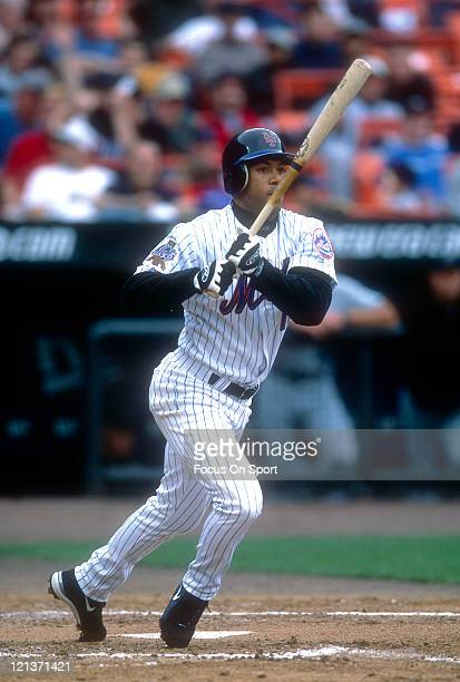 Roberto Alomar of the New York Mets bats during an Major League Baseball game circa 2002 at Shea Stadium in the Queens borough of New York City...