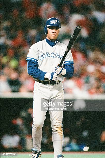 Roberto Alomar of the Toronto Blue Jays bats during a 1993 World Series game against the Philadelphia Phillies