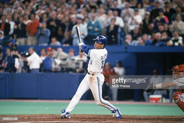 Roberto Alomar of the Toronto Blue Jays swings at the pitch during game six of the 1993 World Series against the Philadelphia Phillies at the Skydome...