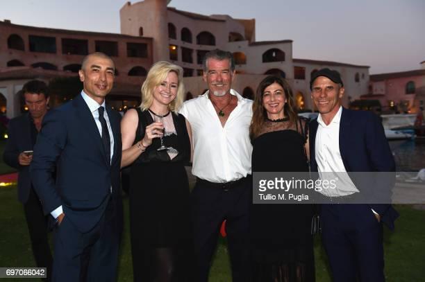 Roberto and Zoe Di Matteo Pierce Brosnan Franca and Gianfranco Zola attend The Costa Smeralda Invitational Gala Dinner at Cala di Volpe Hotel Costa...