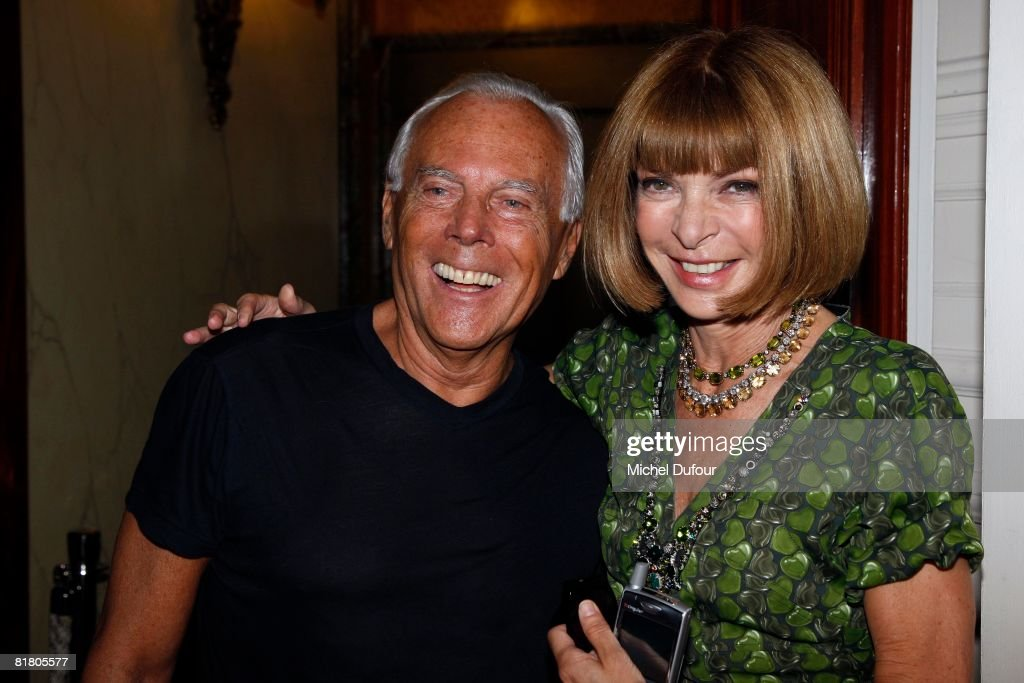 Roberto Armani and Anna Wintour attend the Valentino '09 Fall Winter Haute Couture fashion show on July 2, 2008 in Paris, France.