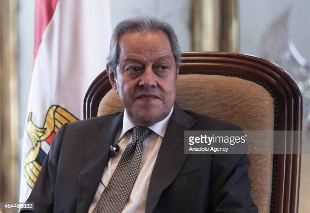 Roberto Azevedo DirectorGeneral of the World Trade Organization and Egyptian Minister of Industry and Trade Mounir Fakhry Abdel hold a joint press...