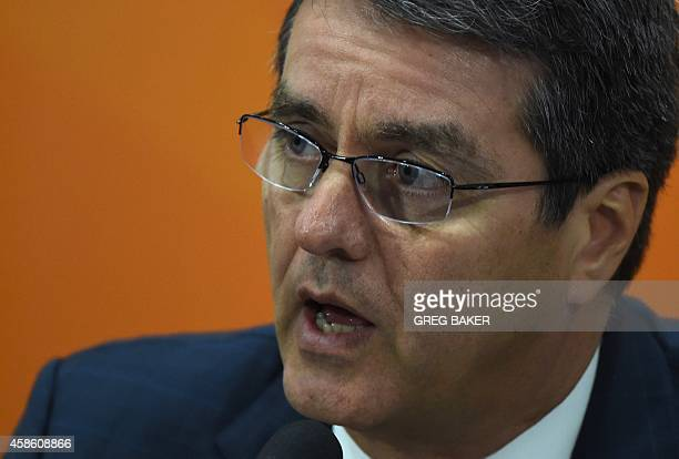 Roberto Azevedo the directorgeneral of the World Trade Organization speaks at a press conference on the sidelines of the AsiaPacific Economic...