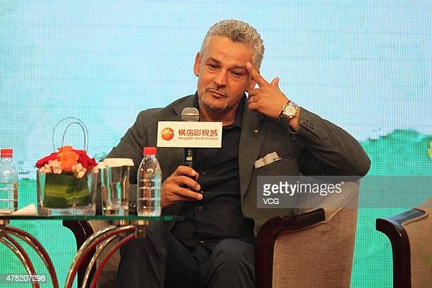 Roberto Baggio a retired Italian footballer visits Hengdian World Studios on May 29 2015 in Jinhua Zhejiang province of China