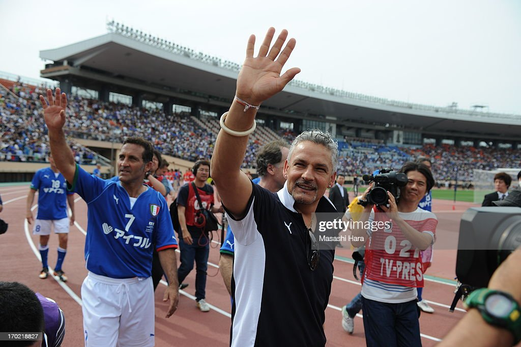 Roberto Baggio looks on after the J.League Legend and Glorie Azzurre match at the National Stadium on June 9, 2013 in Tokyo, Japan.