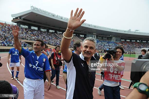 Roberto Baggio looks on after the JLeague Legend and Glorie Azzurre match at the National Stadium on June 9 2013 in Tokyo Japan