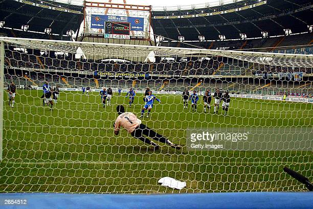 Roberto Baggio of Brescia misses a penalty during the Italian A 7th round match between Juventus and Brescia at delle alpi stadium October 26 2003 in...