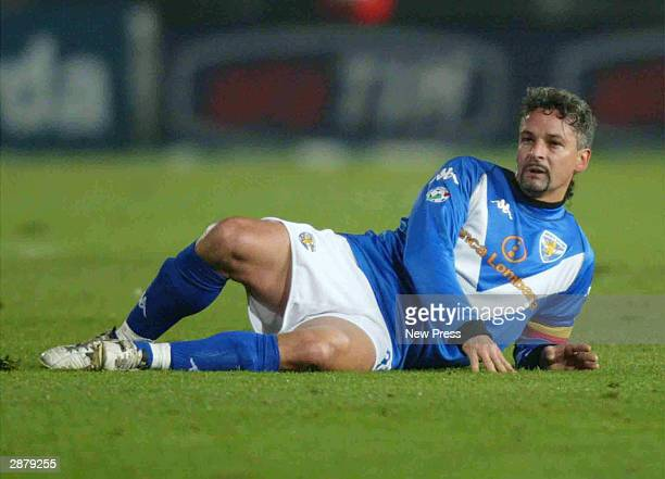 Roberto Baggio of Brescia on the ground during the Serie A match between Brescia and AC Milan played at the Mario Rigamonti Stadium on January 18...