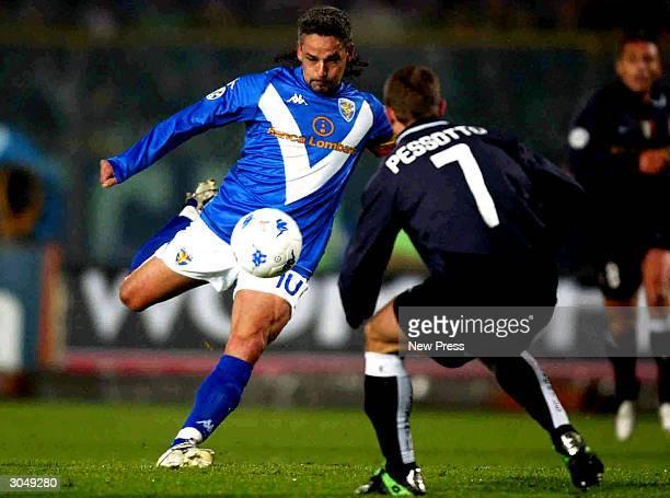 Roberto Baggio of Brescia takes on Gianluca Pessotto of Juventus during the Brescia v Juventus Seria A match played at the Mario Rigamonti Stadium...