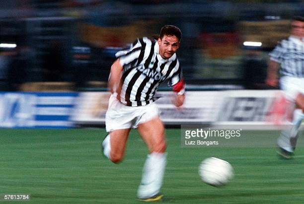 Roberto Baggio of Juventus Turin in action during th Uefa Cup Final match between Juventus Turin and Borussia Dortmund on May 19 1993 in Turin Italy