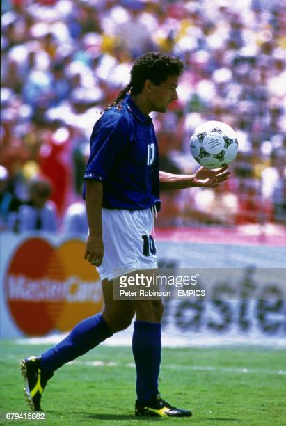 Roberto Baggio steps up to take a penalty