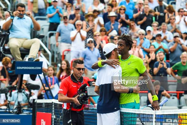 Roberto Bautista Agut and Gael Monfils after the end of their third round match at ATP Coupe Rogers on August 10 at Uniprix Stadium in Montreal QC