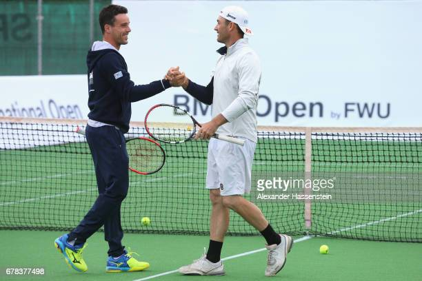 Roberto Bautista Agut attends with Florian Fritsch a fun golf and tennis challenge during the 102 BMW Open by FWU at Iphitos tennis club on May 4...