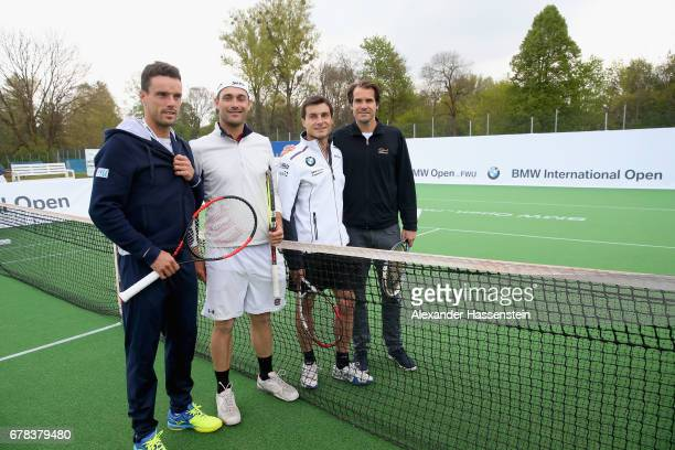 Roberto Bautista Agut attends with Florian Fritsch Bruno Spengler and Tommy Haas a fun golf and tennis challenge during the 102 BMW Open by FWU at...
