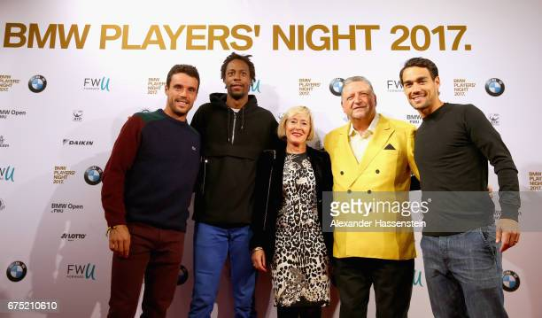 Roberto Bautista Agut Gael Monfils Angela Dirrheimer Manfred Dirrheimer and Fabio Fognini arrive at the Players Night of the 102 BMW Open by FWU at...