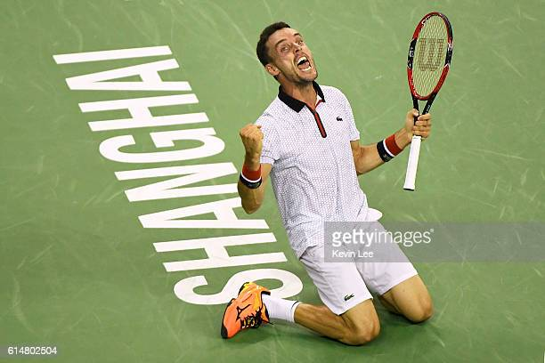 Roberto Bautista Agut of Spain celebrates after defeating Novak Djokovic of Serbia after their Men's Single SemiFinal match in ATP Shanghai Rolex...