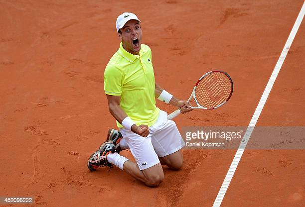 Roberto Bautista Agut of Spain celebrates after winning his final match against Lukas Rosol of Czech Republic on day seven of MercedesCup at TC...