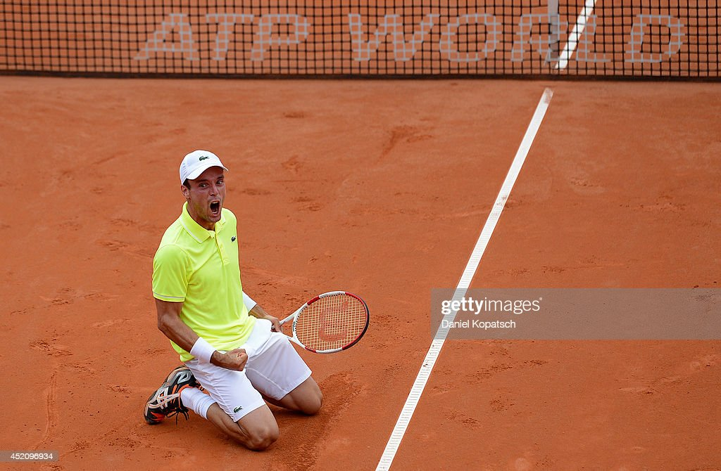 Roberto Bautista Agut of Spain celebrates after winning his final match against Lukas Rosol of Czech Republic on day seven of MercedesCup at TC Weissenhof on July 13, 2014 in Stuttgart, Germany.